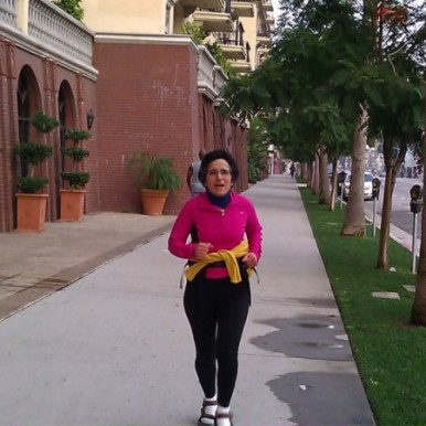 Brenda Avadian training for the LA Marathon in SANDALS