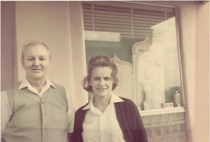 Marie's parents, Cas Lesiak and Jo Lesiak standing in front of Pickford's Sundries, the 50s drugstore and fountain which they founded in 1950 in Tampa, Fla