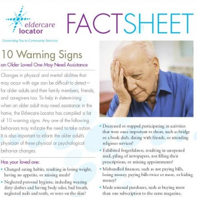 10 Warning Signs that an elder may need help