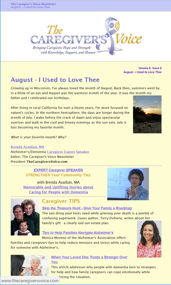 The Caregiver's Voice Newsletter - August 2017