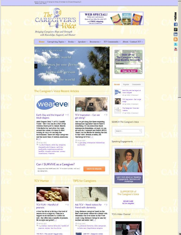 The Caregiver's Voice newly designed website