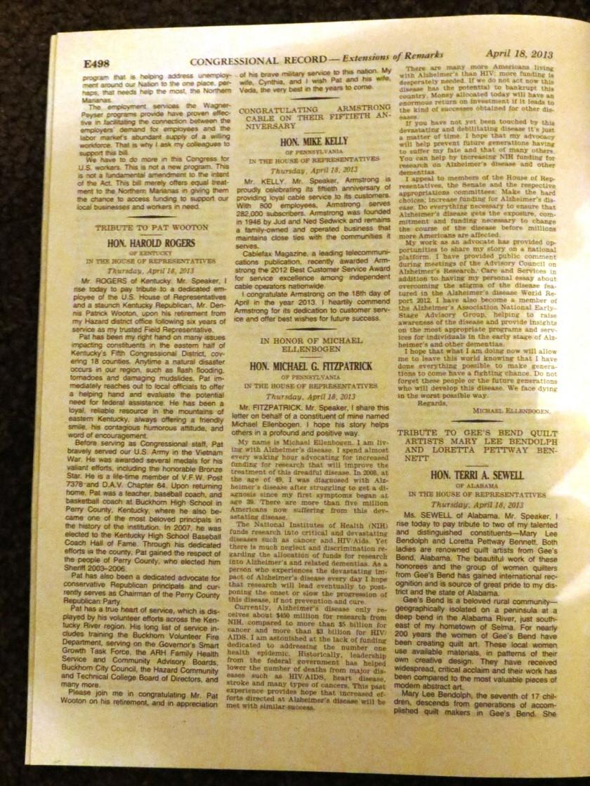 Michael Ellenbogen Congressional Record
