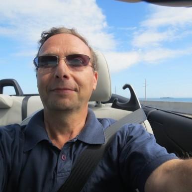 Michael Ellenbogen drives in the Florida Keys