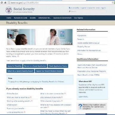 Social Security Disability Benefits page