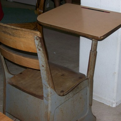 Eric Riddle's old-fashioned school desk