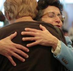 Brenda Avadian Hugging a caregiver