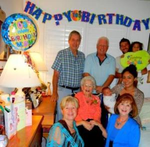 Claire Abel celebrates her mom's 105th birthday with 4 generations