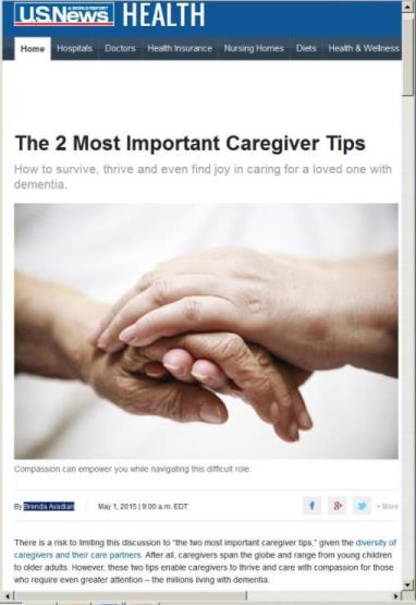Caregiver Tips at U.S. News & World Report - Brenda Avadian