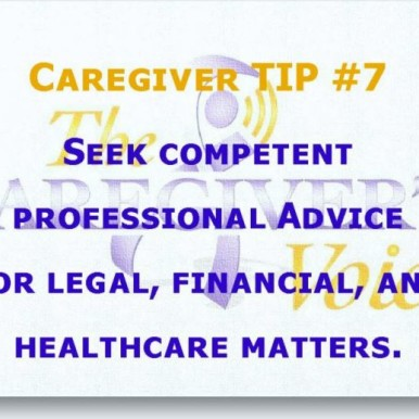 Avadian's Caregiver TIP 7 of 8 - Seek competent professional advice