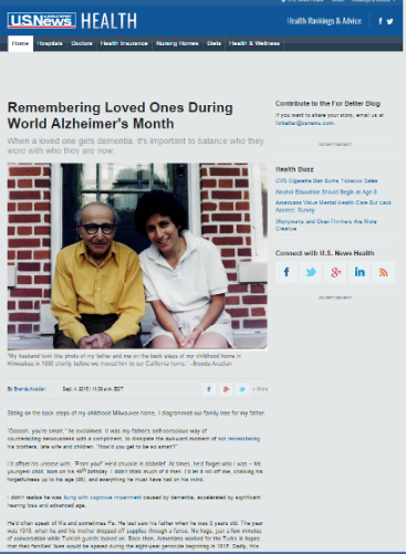 World Alzheimer's Month Remember Me Avadian at U.S. News & World Report