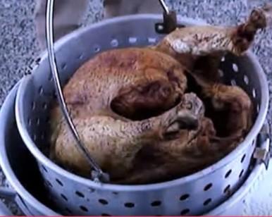 Deep fried Turkey - removing from Fryer
