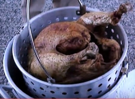 Deep fried Turkey - removing from Fryer