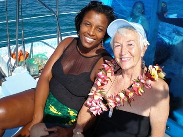 Jeanne Lee with friend celebrating her Birthday at Sea