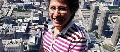 Chicago Sky Deck Brenda Avadian standing on ledge