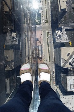 Willis Tower Sky Deck Brenda's feet on Ledge View below