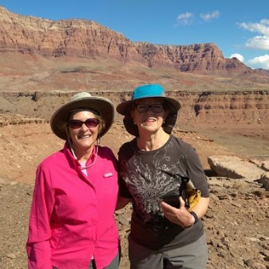 Road Scholar Sue Olsen in pink Arizona 2016-04-12