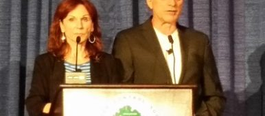 Marilu Henner and Michael Brown speaking at Cancer Convention
