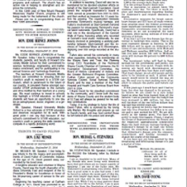 Page from Congressional Record featuring Michael Ellenbogen's remarks re Alzheimer's
