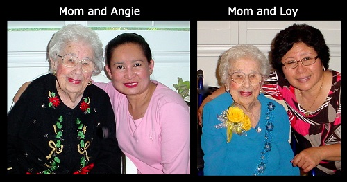 Claire Abel's Mom pictured with Angel Caregivers, Angie and Loy