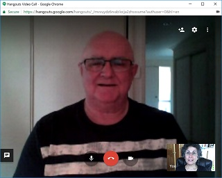 Mick Carmody and Brenda Avadian on Google Hangouts video call-web