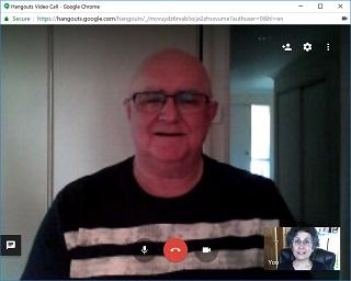 Mick Carmody and Brenda Avadian on Google Hangouts video call-web