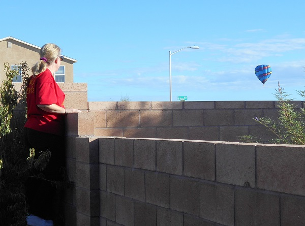 Lyn Purser looking at a hot air balloon