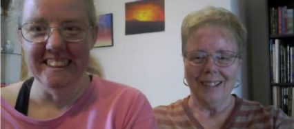 Screenshot of Skype video call w Lynn Pursel, her mom, Helen, and The Caregiver's Voice, Brenda Avadian