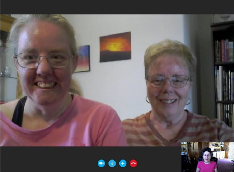 Screenshot of Skype video call w Lyn Purser, her mom, Helen, and The Caregiver's Voice, Brenda Avadian
