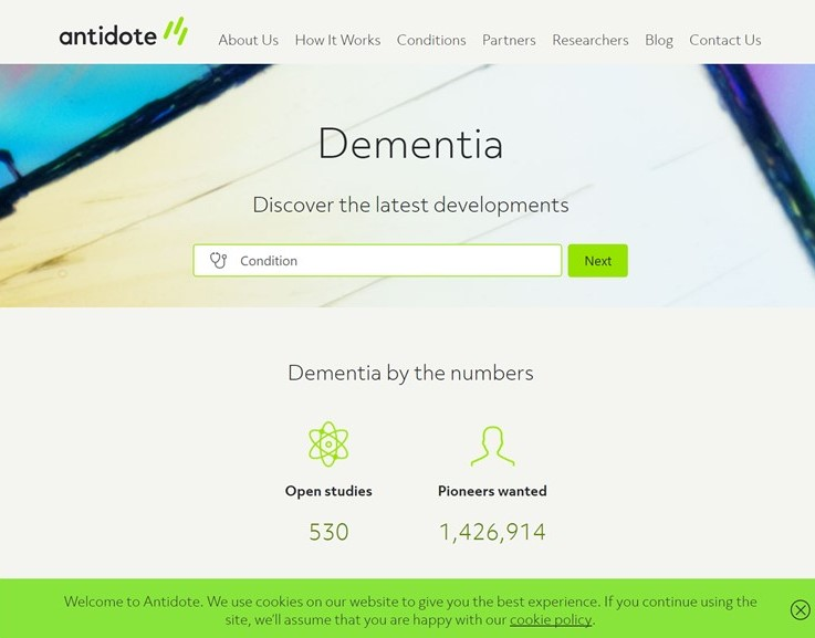 Antidote website Dementia screenshot 8-14-2017