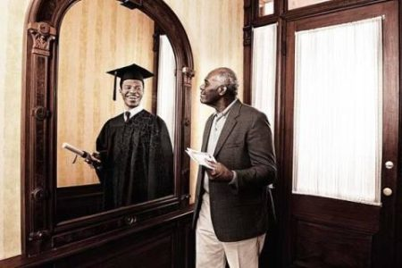 Image older African American Male and younger reflection 50 years ago