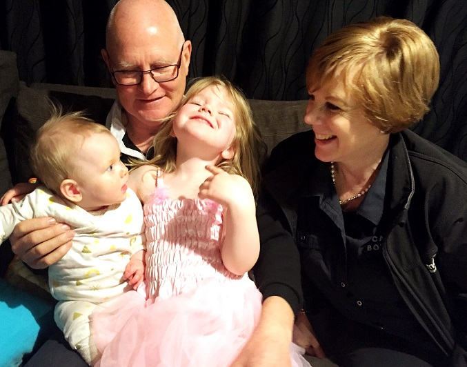Alister and Charlene Robertson with their granddaughters Harper and Darcy